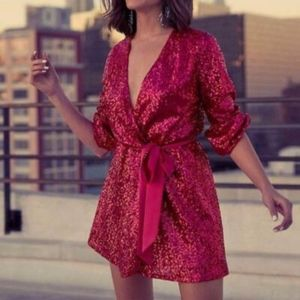 NWT Express Olivia Culpo Magenta Sequin Dress
